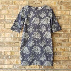 GAP Floral Print Denim Shift Dress Size 2